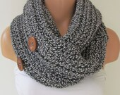 Black and White Infinity Loop Scarf With Wooden Buttons,Neckwarmer,Handmade Circle Scarf,Cowl Scarf, Winter Accessories, Fall Fashion