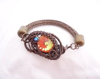 Viking Knit Bracelet - Ultra Orange Swarovski Crystal Rivoli - Gunmetal Wire Woven