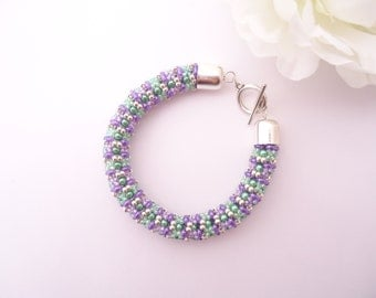 Ladies Bangle - Designed by EllaD2 - Green Purple Silver