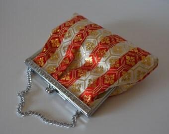 Young girl's handbag, red and gold silk brocade, wedding purse, flower girl, 1970s vintage Japanese purse