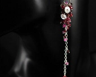 Long, Ruby, Pink Sapphire, Garnet, Rhodolite Garnet, Freshwater Pearl, Sterling Silver Earrings