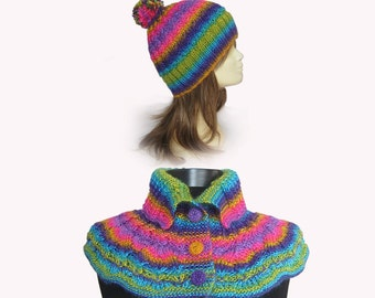 Hat,Knitted neck warmer and hat. cowl scarf ,knit scarf,multicolor infinity  Cowl,multicolor hat,Knitted Capelet,nit Cowl, Knit poncho