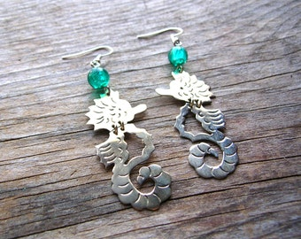 Seahorse Earrings - Seahorse Jewelry - Silver Earrings - Gift Idea - Alpaca Silver Seahorse Earrings
