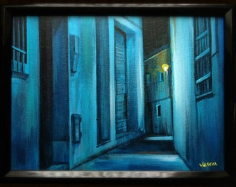 """Blue Alley - 9""""x12"""" Original Painting"""