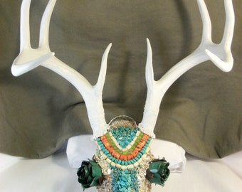 """Deer Skull Decorated for Wall Hanging or Shelf Decor Called """"Desert Rose"""" - Made in Texas"""