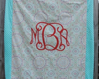 Monogrammed Throw Blanket with Minky