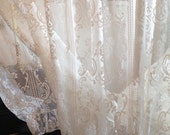 vintage ivory roses  lace curtain lace panel wide cottage lace curtain balloon lace curtain cottage lace curtain