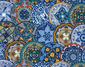 Elizabeth Studios FIESTA MEXICAN Blue Southwestern PLATES Fat Quarter(s)