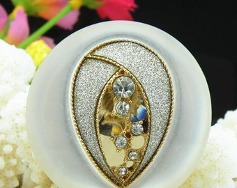 4 pcs 1.45 inch White Pearl Rhinestone Resin Shank Buttons for Mink fur Coats