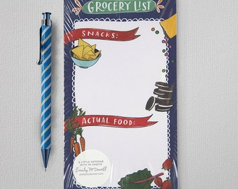 Grocery List Note Pad Illustrated by Emily McDowell