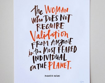 """The Woman Who Does Not Require Validation Inspirational Quote 8"""" x 10"""" Print by Emily McDowell Hand Lettered Typography"""