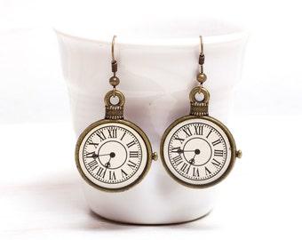 Brass Clock Earrings, Art Noveau gift, Brass earrings, Gift for her, For her