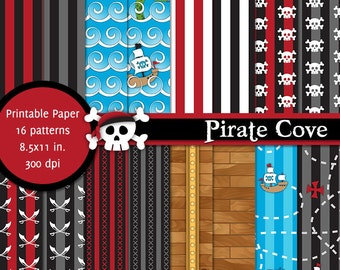 PRINTABLE Pirate Cove • 8.5x11 Digital Paper Pack • INSTANT DOWNLOAD