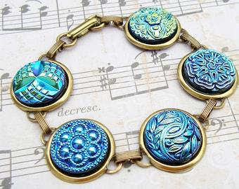 Aqua - Czech glass button bracelet