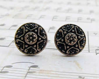 Silver Star - Czech glass button stud earrings