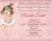 Girl Baby Shower Invitation and FREE Thank You Card Printable DIY - Vintage Pink Damask Ballet Ballerina