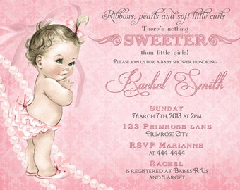 Girl Baby Shower Invitations and FREE Thank You Card - Vintage Baby Shower Invitation for Girl - Girl Pink Baby Shower Invitation