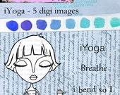 Yoga gal digi stamp set with sentiments available for instant download at Vera Lane Studios.
