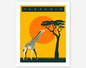 TANZANIA Travel Poster, Retro AFRICAN Pop Art for the home decor, Giclee Fine Art Print,
