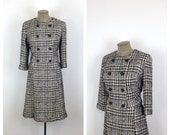 60s Black and White Houndstooth Sheath Dress and Jacket Set • 1960s Boxy Double Breasted Matching Outfit • Jackie O Ensemble • Large • XL