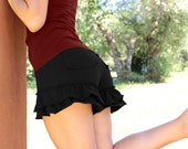 Ruffle Shorts-Black shorts-sexy shorts-workout shorts-black booty shorts-unique women's clothes-pixie shorts-shorts with ruffles-bloomers