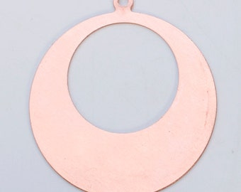 "Copper Blanks Round Cutout Drop 1 5/8"" OD 7/8"" ID 24ga Pkg Of 6"