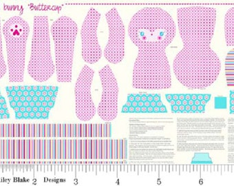 Buttercup Pet Bunny Pink Sweet Home Doll Fabric Easter Panel Riley Blake P3732