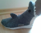 Adult hand knit gray shark socks,Shark Booties, Shark Shoes,Knitting Shark Booties