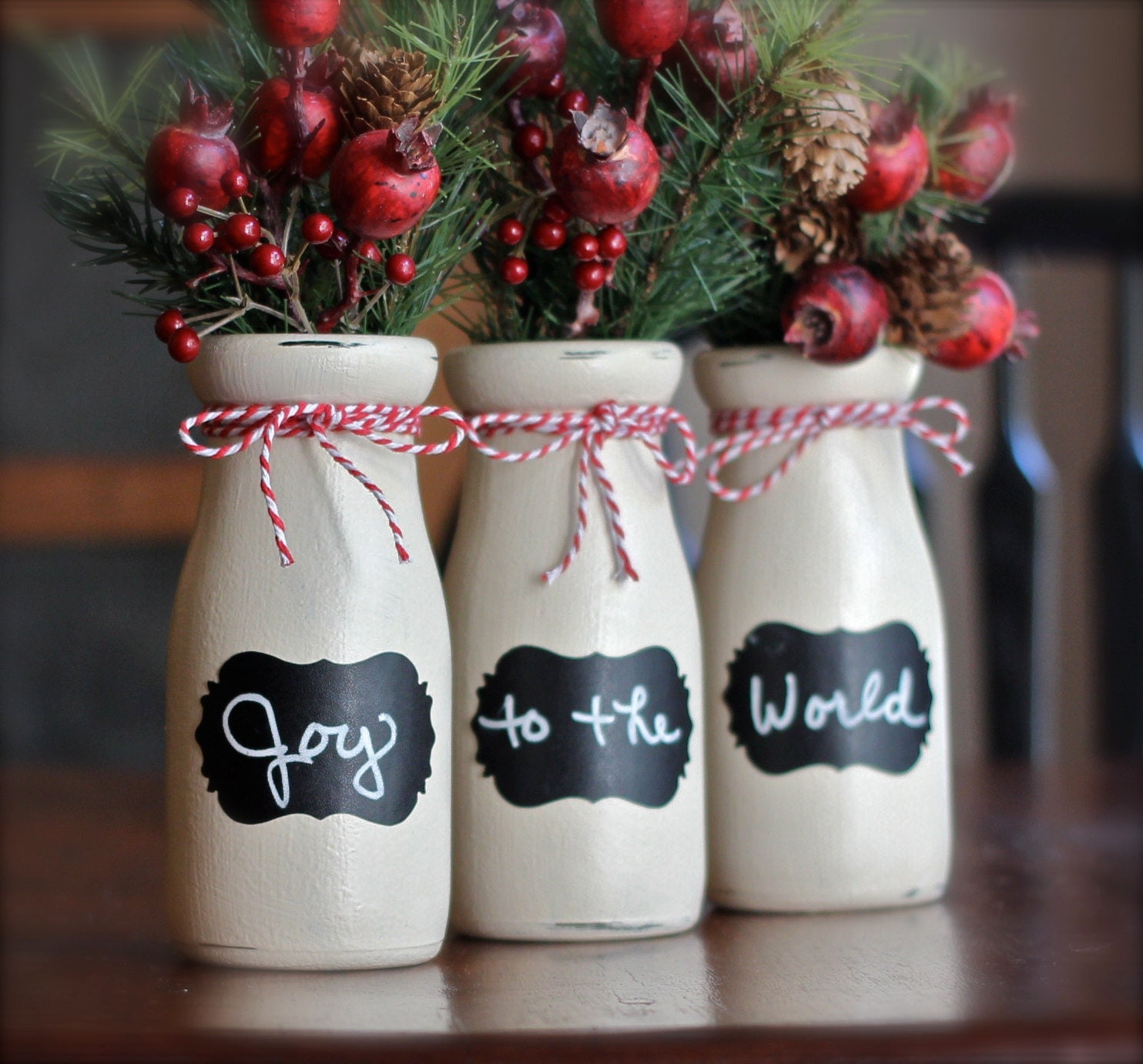 Rustic christmas decor decorations vase