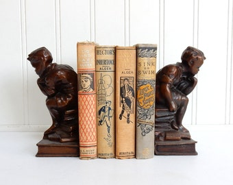 VINTAGE BOY BOOKENDS - Sitting on Books - Bronze Finish - Thinker - Thinking - Pair - Teen Room Decor