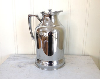 VINTAGE SILVER THERMOS - Chrome - Nickel Silver - Wear Brite - Industrial - Metal Shiny - Grand Silver Co