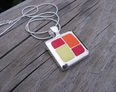 JEWELRY SALE- Red, Yellow, Orange Necklace- Geometric Fire Necklace