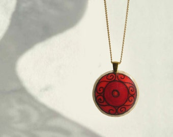 Hand Painted Pendant, Red Pendant, Wood, Gold Plated Chain Necklace, Handmade Pendant, Red Necklace Red Jewelry by Artdora