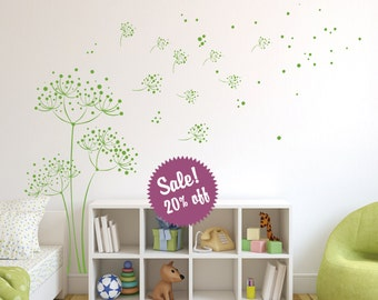 Sale. Dandelion Wall Decal. Wall Sticker. Removable
