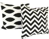 Decorative pillow covers set of two black and white chevron zig zag and chipper pillow shams cushion covers