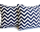 "Throw pillow covers set of two 18"" x 18"" blue pillows blue cushion covers Navy Chevron zig zag"