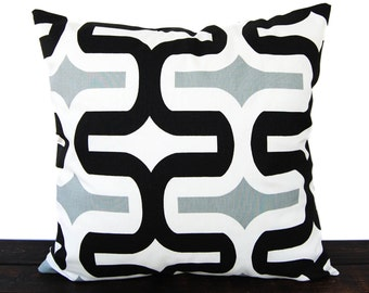 Throw pillow cover gray black white geometric cushion cover pillow sham Embrace Cool Gray and Black