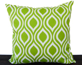 Throw pillow cover chartreuse lime green cushion cover pillow sham Nicole print