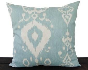 Throw piillow cover blue cushion cover Ikat pillow case aqua light blue cream