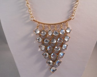 SALE Clear Crystal Bib Necklace on a Gold Tone Chain