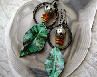 The Silent Woods, Handmade earrings, forged leaves, verdigris patina, metalwork leaves, dangle hoop, assemblage earrings, Anvil Artifacts
