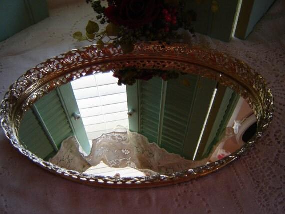 Vintage mirror tray vanity jewelry filligree wedding