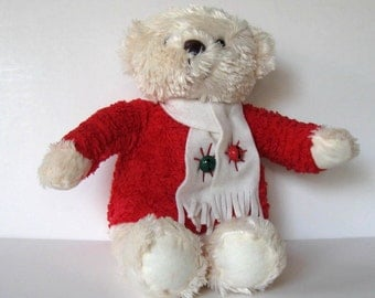 SALE, Vintage Hallmark White Teddy Bear, Toy, Kids, Stuffed Animal,red sweater, Nursery decor