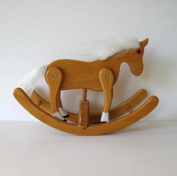 Handmade Vintage Wood Rocking Horse Primitive By