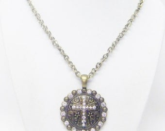 Round Etched Antique Bronze Pendant w/Rhinestone Cross Pendant Necklace