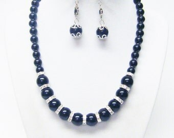 Mystic Black Glass Pearl w/Rondelle Crystal Bead Necklace & Earrings Set