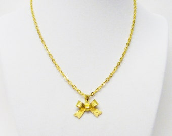 Gold Plated Hammered Bow Pendant Necklace for Young Girl