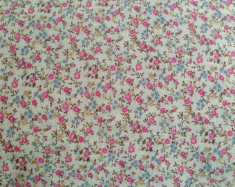 Vintage Cotton calico Fabric floral flowers pink white