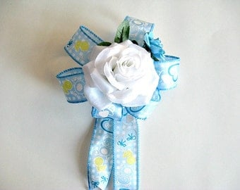 Blue baby bow, Baby shower bow, Gift for new mom, Blue and white baby bow, Gift wrapping bow, Baby boy shower decoration, New baby gift bow