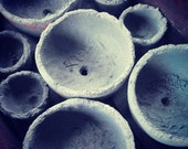 Handcrafted rustic concrete planters